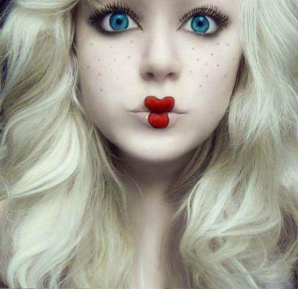 Cute halloween doll makeup
