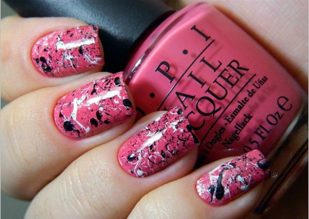 Как сделать маникюр с розовый и черный