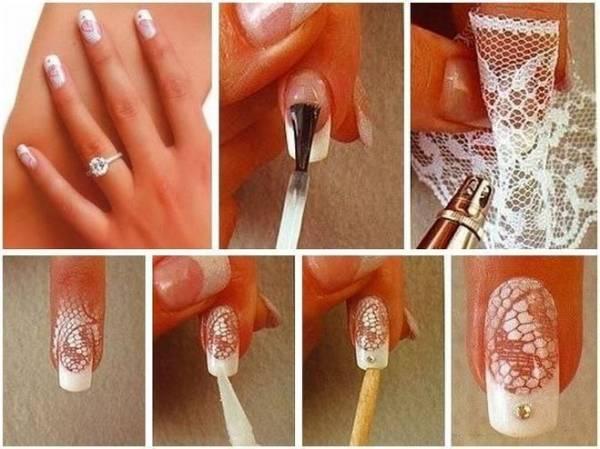 Свадебный маникюр френч с кружевом