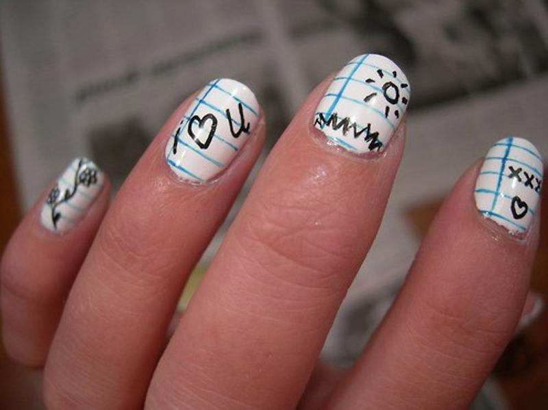 Школьный маникюр в домашних условиях на коротких ногтях