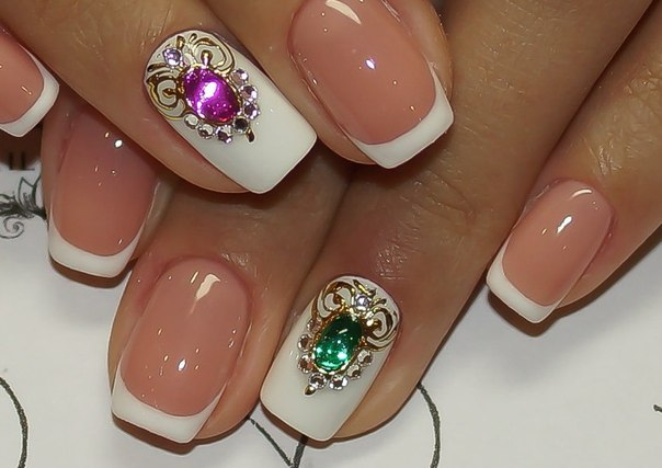 Дизайн ногти с камнями
