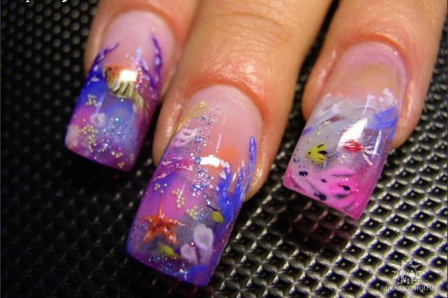 аквариумный дизайн гелем ногтей фото