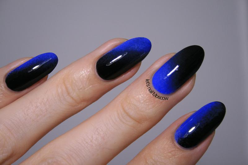 Дизайн ногтей черного с синим