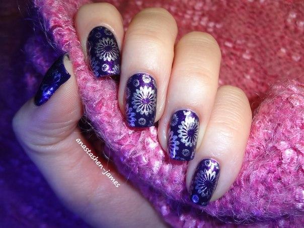 Дизайн ногтей фиолетовый с рисунком фото