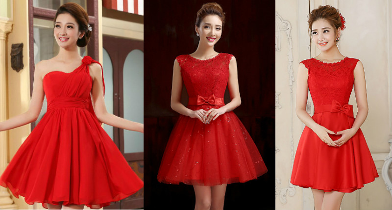 Пышные вечерние красные платья