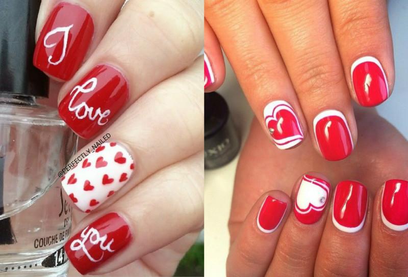 Дизайн ногтей красные с белым дизайн