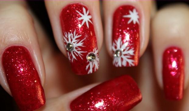 Снежинки дизайн ногтей видео