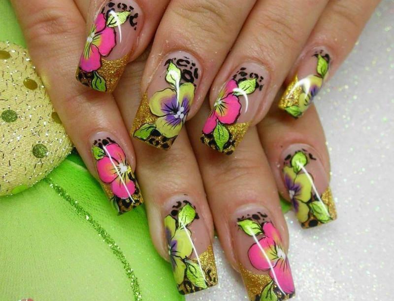 Ногти летние нарощенные