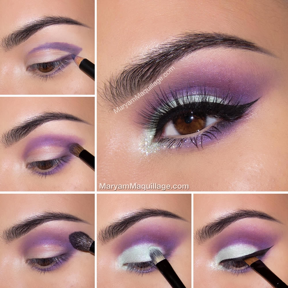 Сиреневый макияж для карих глаз пошаговое фото