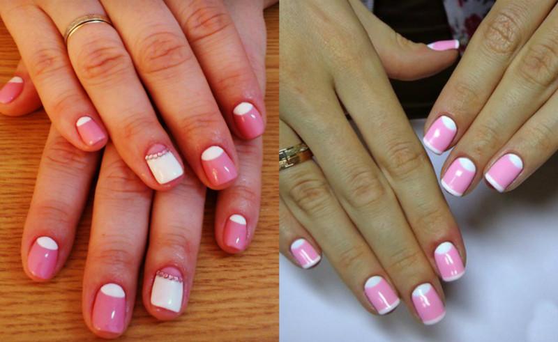 Розово-белый дизайн ногтей