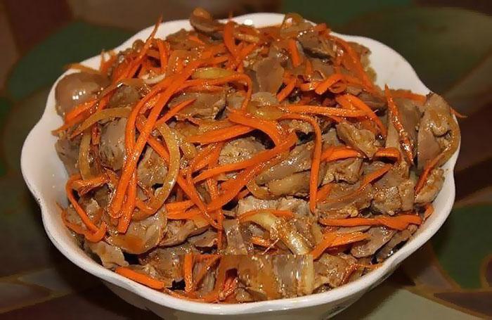 Салат из индюшиных желудков новые фото